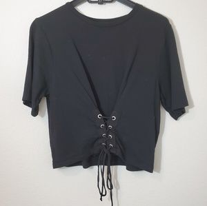 ZARA corset crop style tee